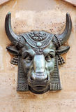 France, Paris: Ox statue. France, Paris: bronze Ox statue on a wall (district of the Blancs Manteaux stock photography