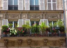 FRANCE. Paris. Parisian Architecture. FRANCE. Paris. Beautiful Parisian Architecture Old town. Facade of the building with shutters on the Windows and Balconies Stock Photos
