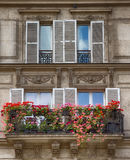 FRANCE. Paris. Parisian Architecture. FRANCE. Paris. Beautiful Parisian Architecture Old town. Facade of the building with shutters on the Windows and Balconies Stock Images