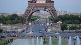 FRANCE, PARIS: Part of Eiffel Tower in the evening, time-lapse stock video footage