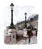 France - Paris, Pont Neuf under the rain Royalty Free Stock Photos