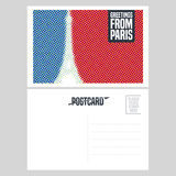 France, Paris  postcard design with Eiffel tower Stock Photography