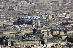 France, Paris; sky city view with beaubourg museum. France, Paris: nice city view with beaubourg museum; blue sky  for this panoramic view Royalty Free Stock Photo