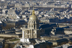France, Paris; sky city view with Invalides Stock Images