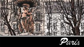 France - Paris square Louvois vector illustration