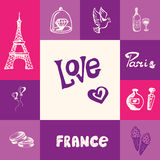 France and Paris Squared Doodle Vector Concept. Paris checkered concept in romantic colors. Eiffel tower, heart balloons, ice cream, diamond ring, bottle of wine Royalty Free Stock Photos