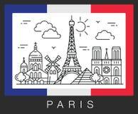 france paris Stadsdragningar och flaggan av Frankrike Royaltyfria Foton