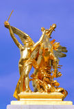 France, paris: Statues of Alexander III bridge. Bronze and gold leaf statue; wing horse with amazone stock image