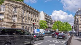Summer Evening and Traffic near the Eiffel Tower. Time Lapse stock video footage