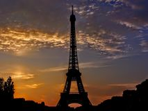 France, Paris, Tour Eiffel Tower Silhouette Sunset Stock Photos