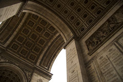 France Paris triumphal arch fragment. France arc de Triomphe in Paris a fragment of bas-relief stone stariradev on the walls Stock Image