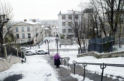 France Paris  under snow Stock Photo