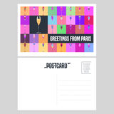 France, Paris vector postcard design with glass of champagne Royalty Free Stock Image