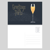 France, Paris vector postcard design with glass of French champagne Stock Photos