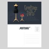 France, Paris vector postcard design with little black dress Stock Image