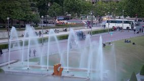 FRANCE, PARIS: Water cannons of the fountain in Trocadero, time-lapse. FRANCE, PARIS: Water cannons of the Fountain in the Trocadero and Eiffel Tower in the stock footage