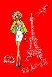 France, Paris, woman in love card Royalty Free Stock Photos