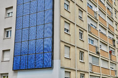 France, photovoltaic panels on a wall of a building Stock Image