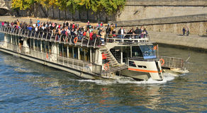 France, picturesque Bateau Mouche in the city of Paris Royalty Free Stock Photography