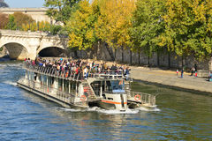 France, picturesque Bateau Mouche in the city of Paris Stock Image