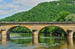 France, picturesque bridge of Castelnaud in Dordogne Royalty Free Stock Photography