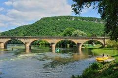 France, picturesque bridge of Castelnaud in Dordogne Stock Images