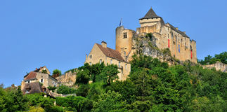 France, picturesque castle of Castelnaud in Dordogne Stock Photos