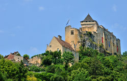 France, picturesque castle of Castelnaud in Dordogne Royalty Free Stock Images
