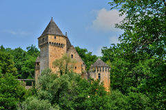 France, picturesque castle of Laussel in Dordogne stock photo