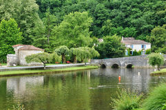 France, picturesque city of Brantome Stock Images