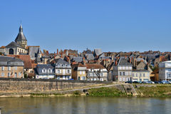 France,picturesque city of La Charite sur Loire in Bourgogne Royalty Free Stock Photos