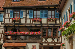 France, picturesque old house in Eguisheim in Alsace Stock Photos