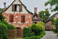 France, picturesque village of Collonges la Rouge Stock Photography