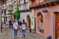 France, picturesque village of Eguisheim in Alsace Stock Photo