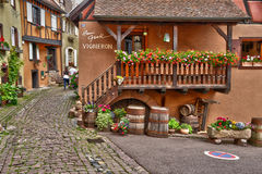 France, picturesque village of Eguisheim in Alsace Royalty Free Stock Photos