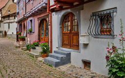 France, picturesque village of Eguisheim in Alsace Stock Photos