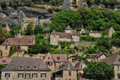 France, picturesque village of La Roque Gageac in Dordogne Royalty Free Stock Photography