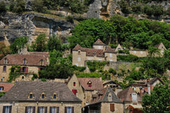 France, picturesque village of La Roque Gageac in Dordogne Royalty Free Stock Image