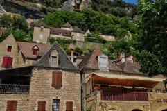 France, picturesque village of La Roque Gageac in Dordogne Stock Photos