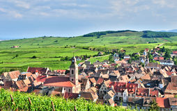 France, picturesque village of Riquewihr in Alsace stock photography