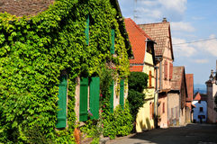 France, picturesque village of Riquewihr in Alsace Royalty Free Stock Image