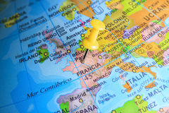 France pinned on a map of Europe.  Royalty Free Stock Photos