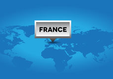 France pointer on world map Royalty Free Stock Photography