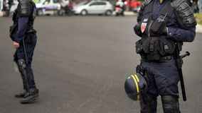 France police cordon off streets and watching public order in city street. Stock photo royalty free stock images