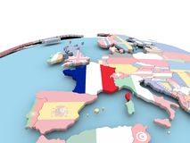 Flag of France on bright globe. France on political globe with embedded flags. 3D illustration Royalty Free Stock Image