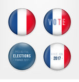 France Presidential Election Voting. Badges Set. A set of french buttons and caps.Vector Illustration. France Presidential Election Voting. Badges Set. A set of Stock Photo