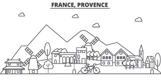 France, Provence architecture line skyline illustration. Linear vector cityscape with famous landmarks, city sights royalty free illustration