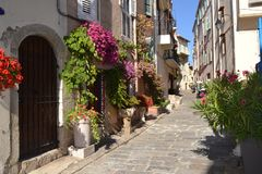 Street in Cannes. France. Provence. Cannes. Street of the district of Le Suquet Royalty Free Stock Image