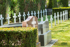 France, Puteaux - May 15, 2015:graves of soldiers died during World War II. France, Puteaux - May 15, 2015: graves of soldiers who died for France during World Stock Photos