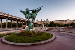 France Reborn Statue on Bir-Hakeim Bridge at Dawn, Paris Royalty Free Stock Photography
